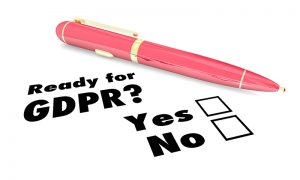 Pink Pen with Check boxes for Ready for GDPR? Yes or No