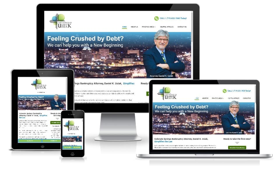 Usiak Law responsive design colorado springs