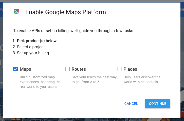 Enable Google Maps Platform